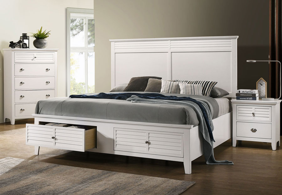 Lifestyle Shutter White Queen Storage Bed