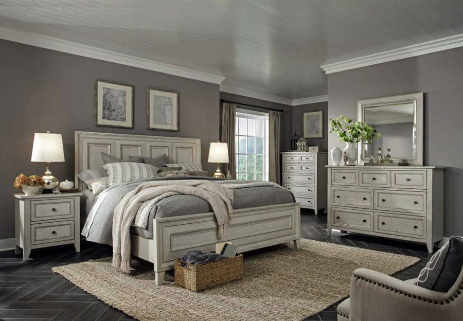 Magnussen Raelynn Queen Headboard, Footboard, Rail, Dresser, and Mirror