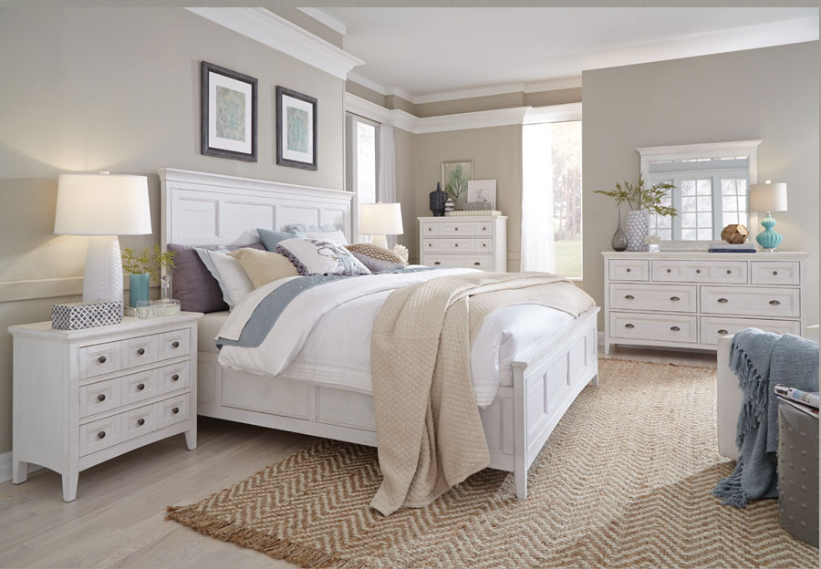 Magnussen Heron Cove King Headboard, Footboard, Rail, Dresser, and Mirror