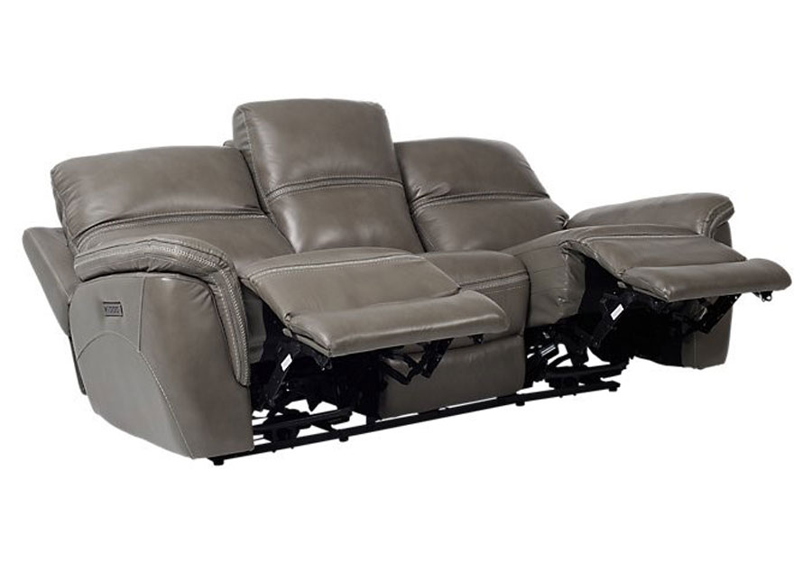 Cheers Santelli Smoke Triple Power Leather Match Reclining Sofa