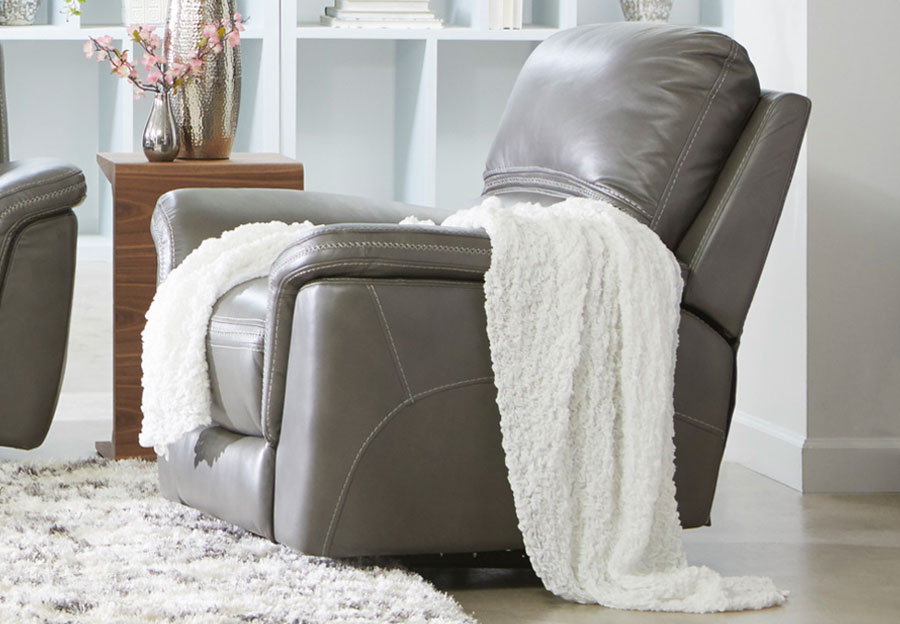 Cheers Santelli Smoke Triple Power Leather Match Recliner