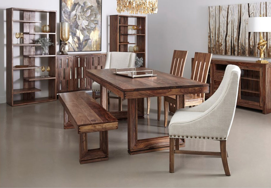 Coast to Coast Brownstone Dining Table Two Side chairs and a Bench