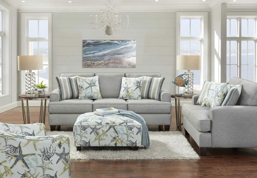 Fusion Jitterbug Flax Queen Sleeper Sofa and Loveseat with Savannah Ocean and Reinvented Nautica Accent Pillows
