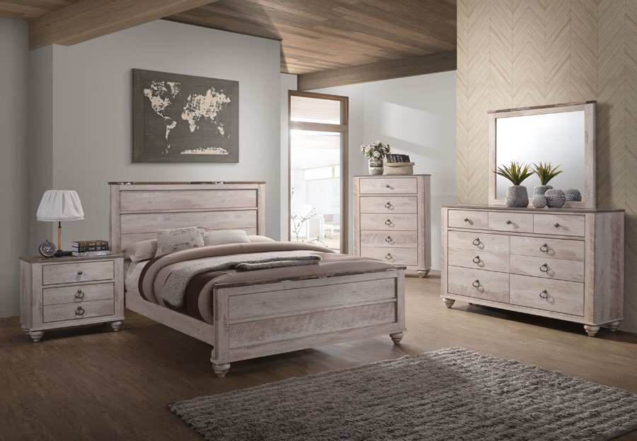 Lifestyles Pier Queen Headboard, Footboard, Rails, Dresser and Mirror