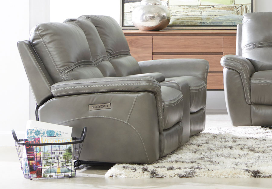 Cheers Santelli Smoke Triple Power Leather Match Reclining Console Loveseat