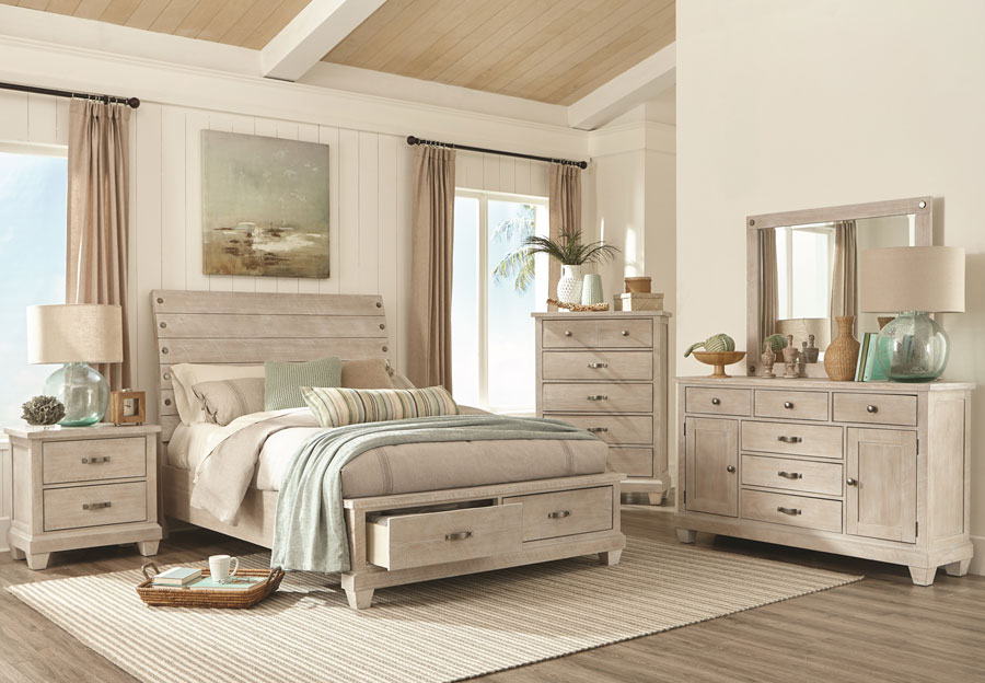 Lifestyles Crestview White Wash King Headboard, Storage Footboard, Rails, Dresser and Mirror