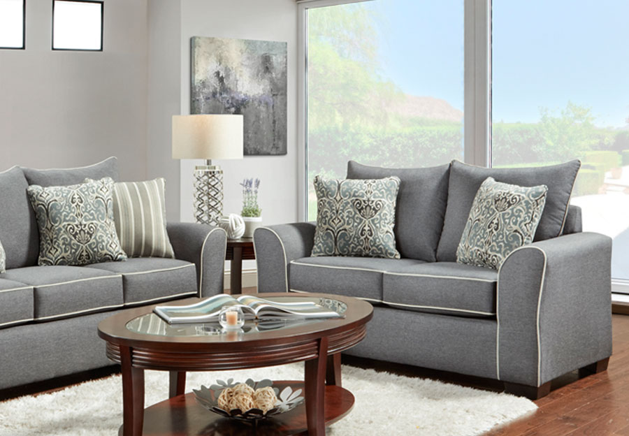 Affordable Furniture Graphite Loveseat with Ashton Graphite and Remington Graphite Pillows