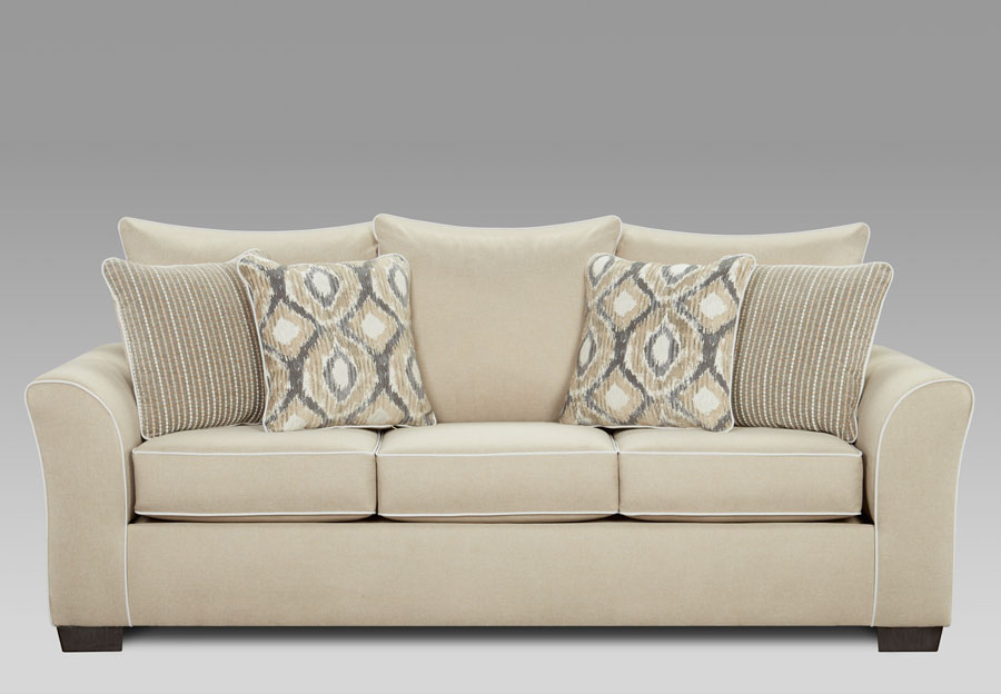 Affordable Furniture Khaki Sofa with Ashton Khaki and Melanie Khaki Pillows