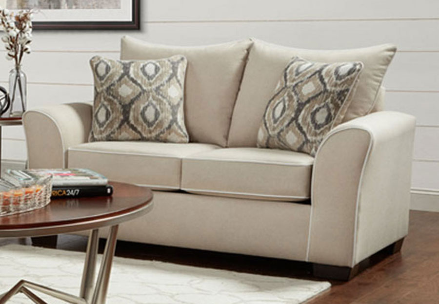 Affordable Furniture Khaki Loveseat with Ashton Khaki and Melanie Khaki Pillows