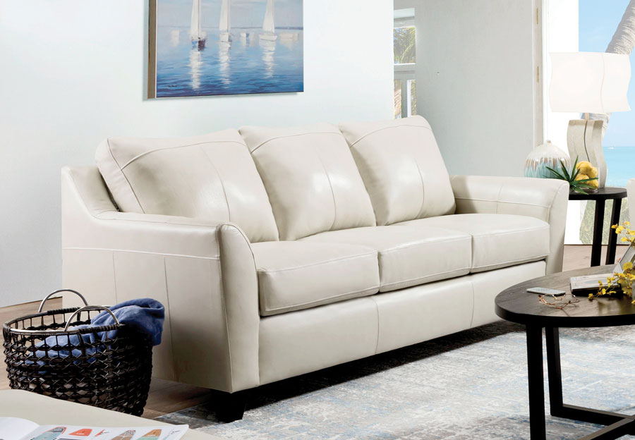 Lane Avery Cream Leather Match Sleeper Sofa