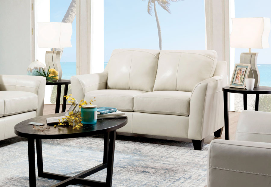 Lane Avery Cream Leather Match Loveseat