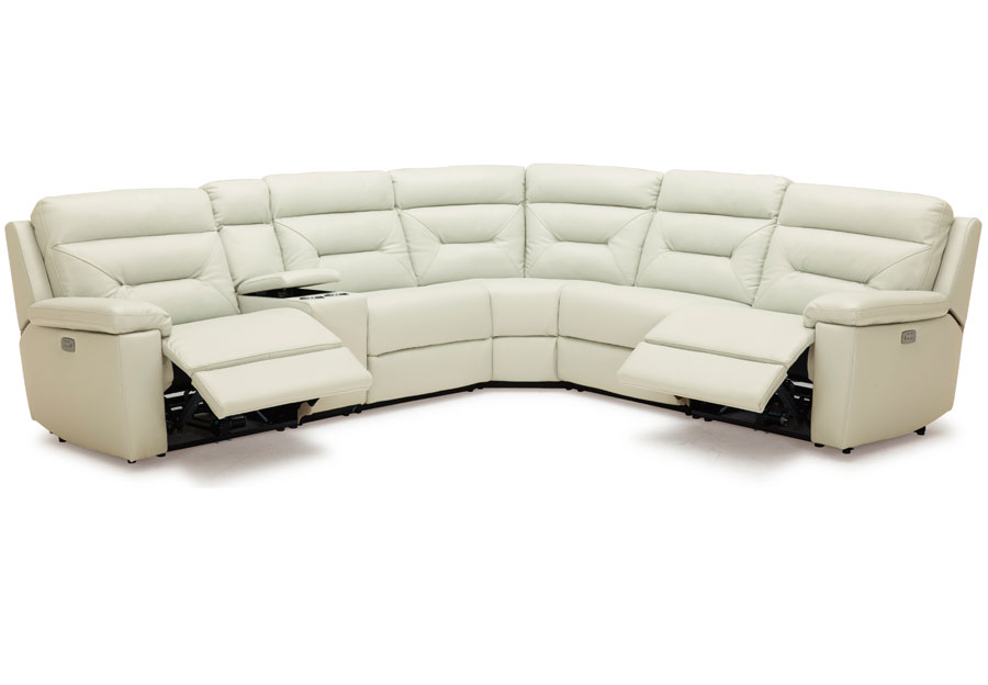 Kuka Grand Point Ivory Three Power Reclining Leather Match Sectional