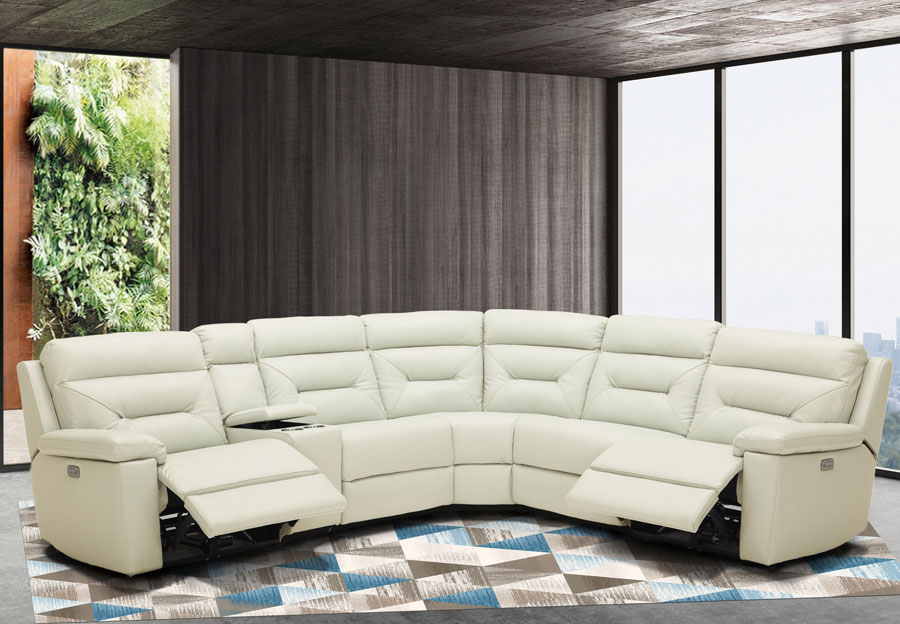 Kuka Grand Point Ivory Two Power Reclining Leather Match Sectional