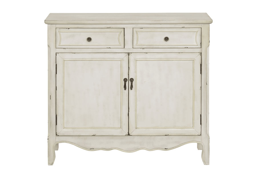 Coast to Coast Antique White Two Drawer Two Door Cabinet