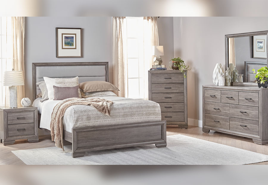 Lifestyle Shelton Grey Queen Upholstered Bed, Dresser and Mirror