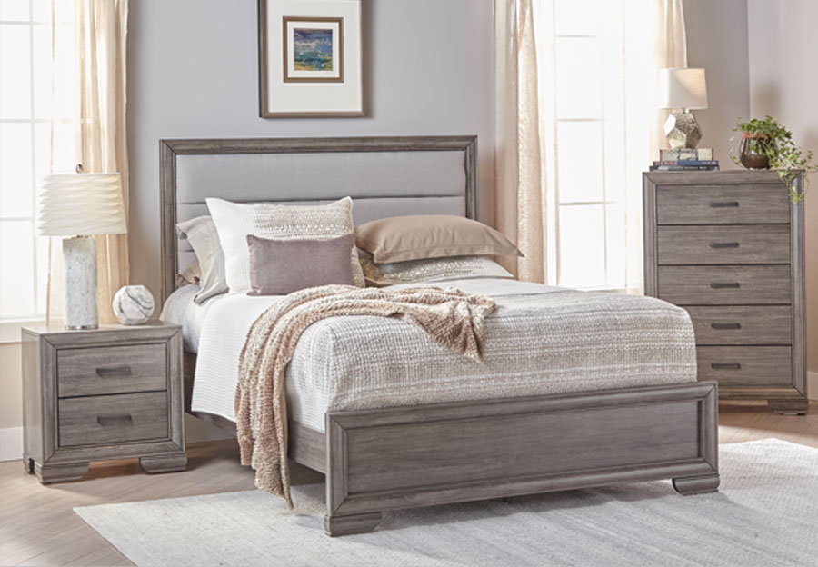 Lifestyle Shelton Grey King Upholstered Bed