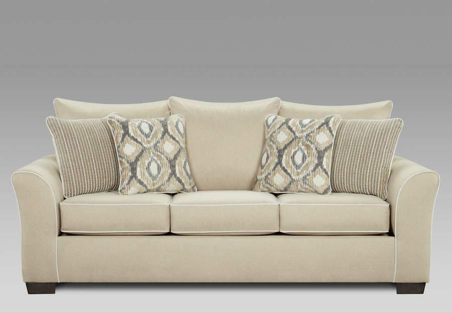 Affordable Furniture Khaki Queen Sleeper Sofa with Ashton Khaki and Melanie Khaki Pillows
