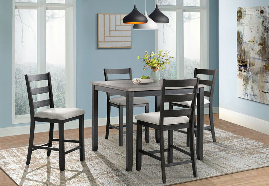 Elements Martin Black Counter Height Table with Four Counter Stools