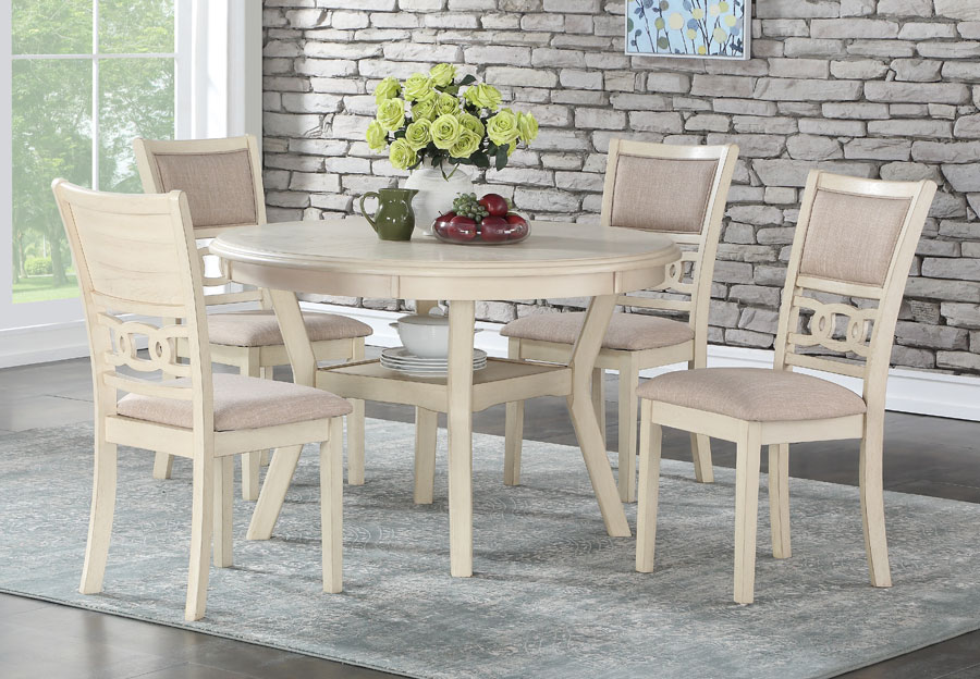 New Classic Gia White Round Table with Four Chairs
