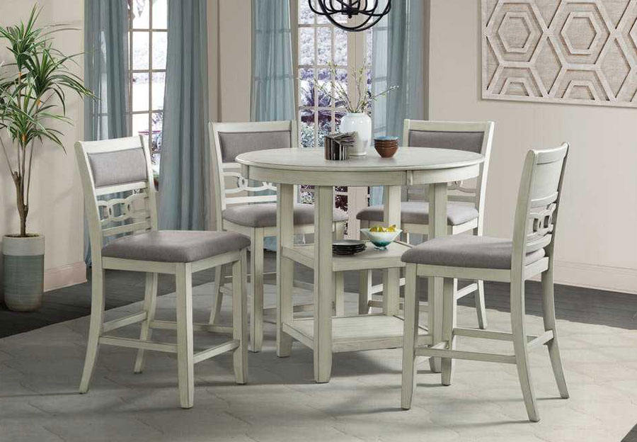New Classic Gia White Round Counter Height Table with Four Counter Chairs