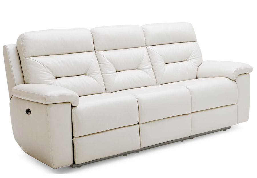 Kuka Grand Point Ivory Dual Power Reclining Leather Match Sofa