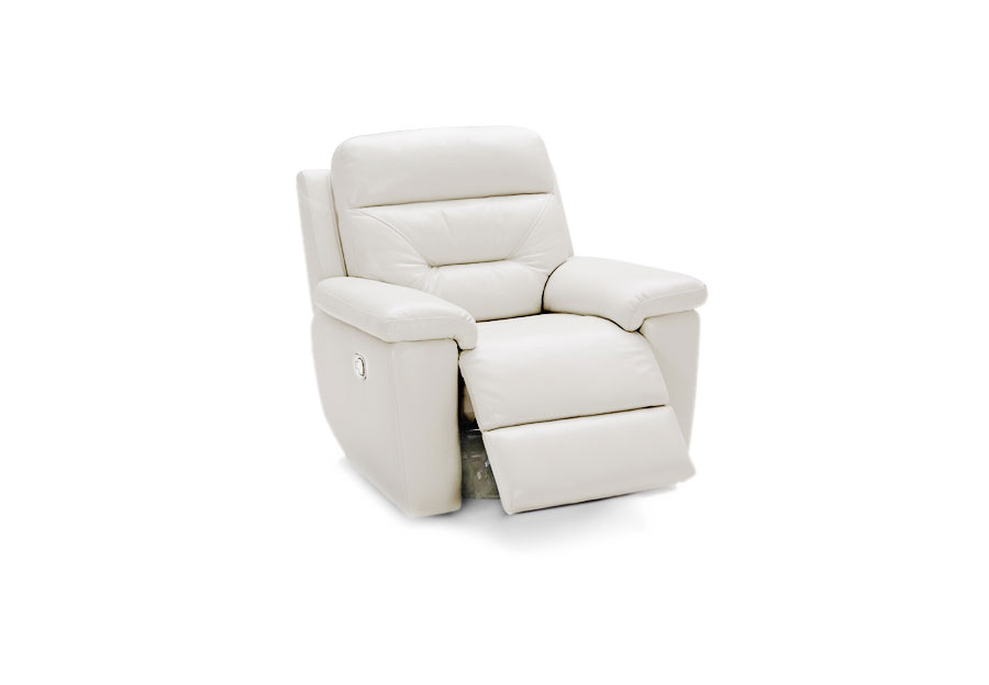 Kuka Grand Point Ivory Dual Power Leather Match Recliner
