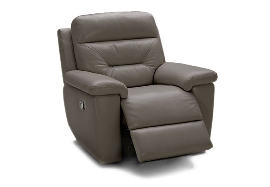 Kuka Grand Point Charcoal Dual Power Leather Match Recliner