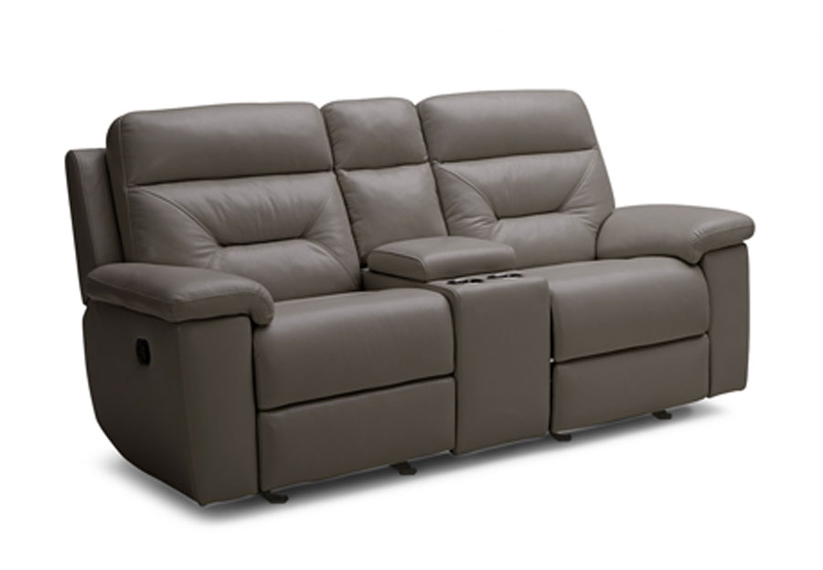 Kuka Grand Point Charcoal Manual Reclining Leather Match Console Loveseat