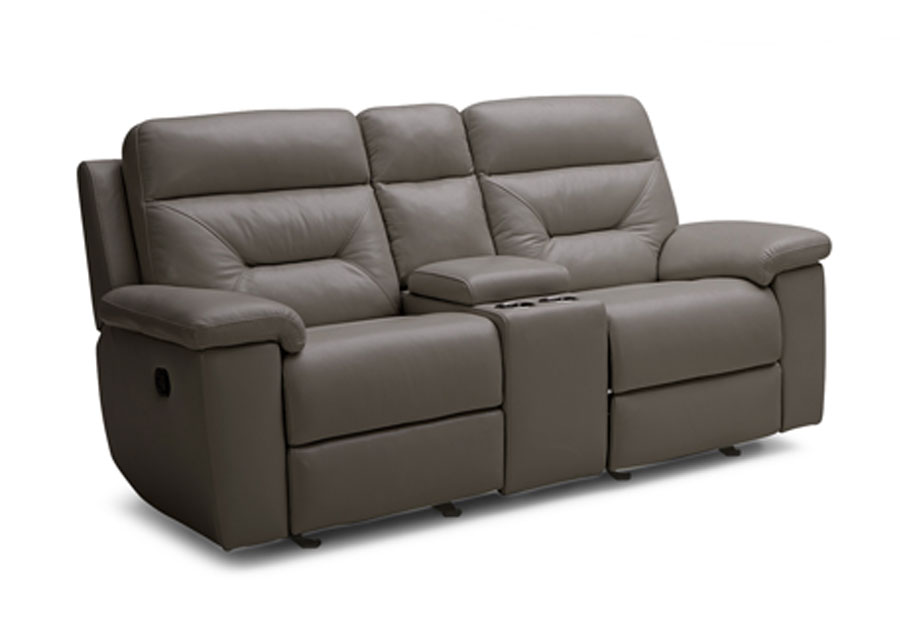 Kuka Grand Point Charcoal Dual Power Reclining Leather Match Console Loveseat