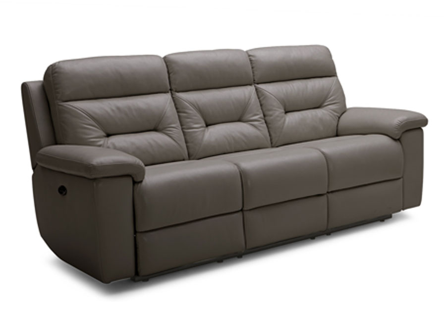 Kuka Grand Point Charcoal Dual Power Reclining Sofa Leather Match
