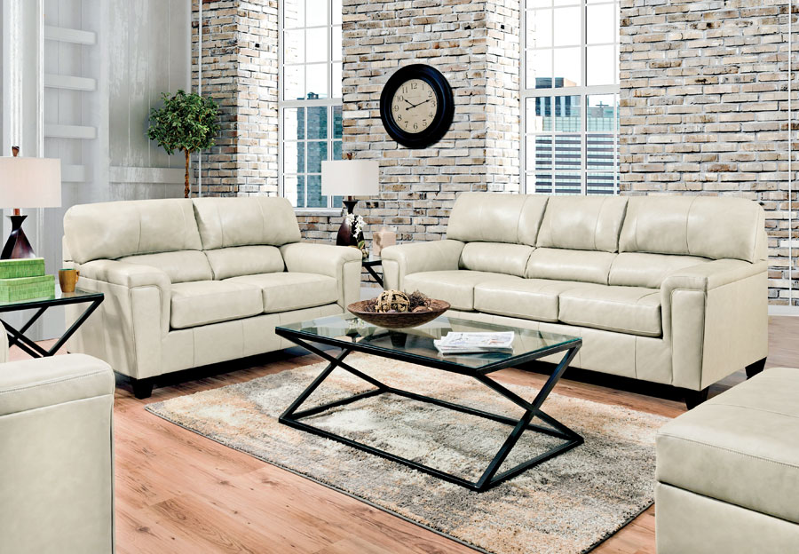 Lane Cypress Cream Leather Match Sleeper Sofa and Loveseat