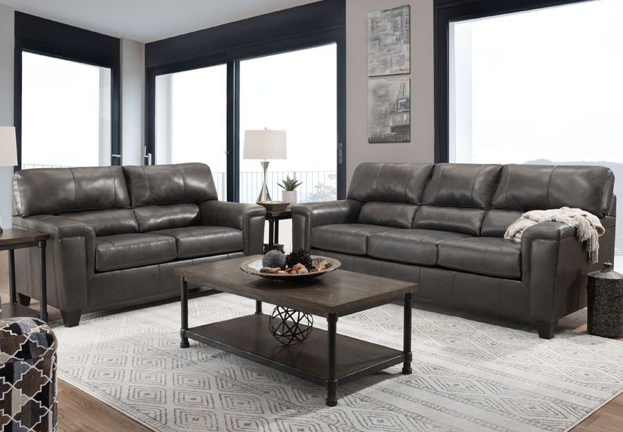 Lane Cypress Fog Leather Match Sleeper Sofa and Loveseat