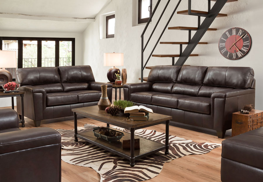 Lane Cypress Bark Leather Match Sleeper Sofa and Loveseat