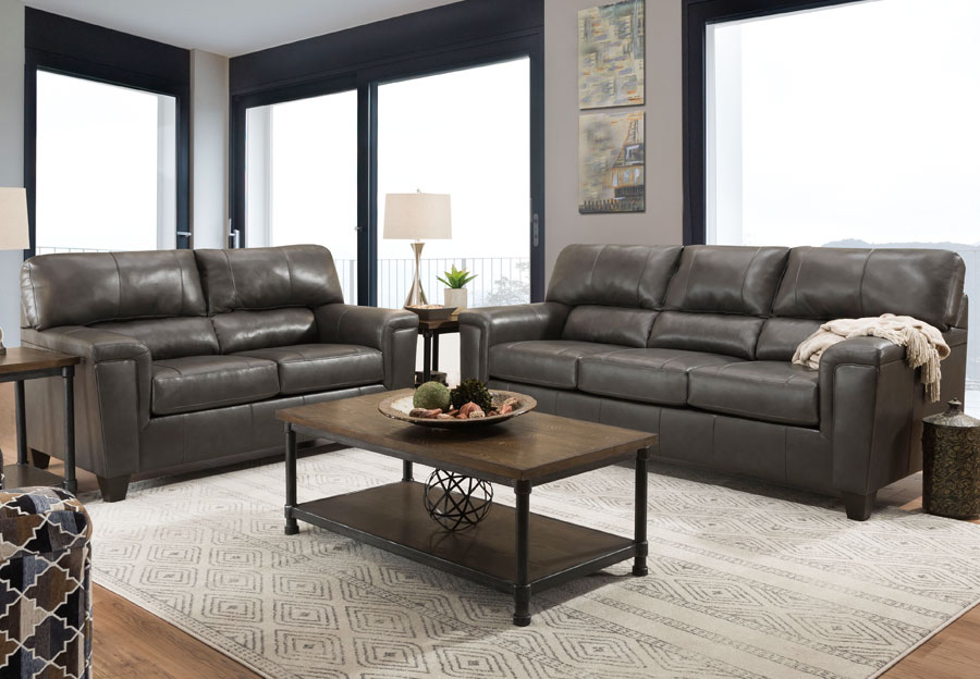Lane Cypress Fog Leather Match Sofa and Loveseat