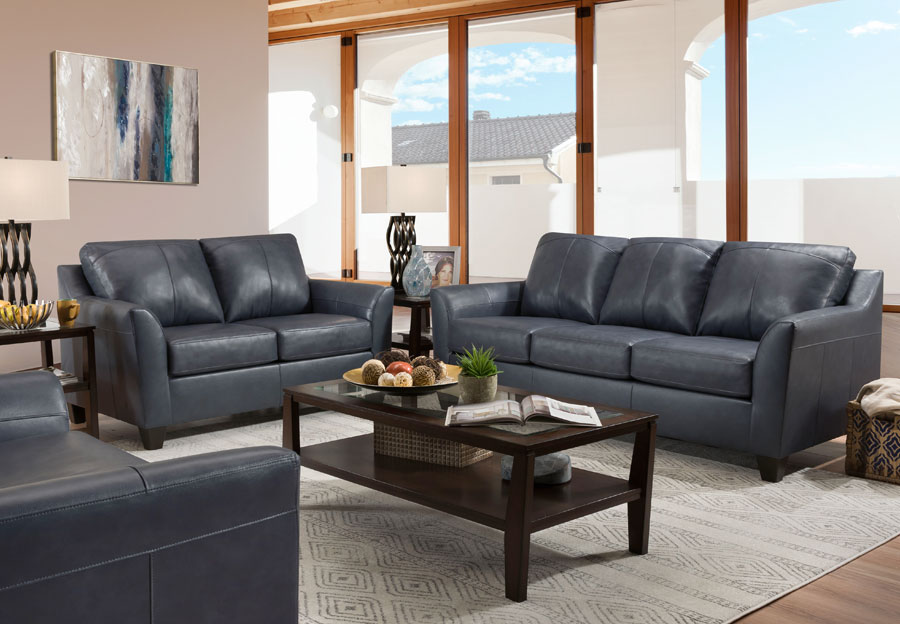 Lane Avery Shale Leather Match Sleeper Sofa and Loveseat