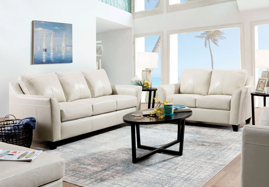 Lane Avery Cream Leather Match Sleeper Sofa and Loveseat
