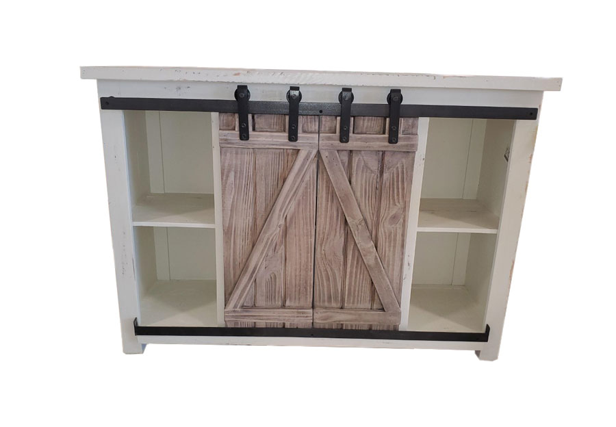 Vintage Furniture 5in Sliding Barn Door Media Console In Nero White With Granite Barn Doors