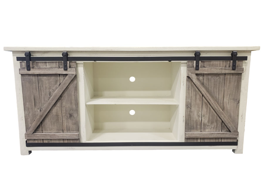 Vintage Furniture 70in Sliding Barn Door Media Console In Nero White With Granite Barn Doors