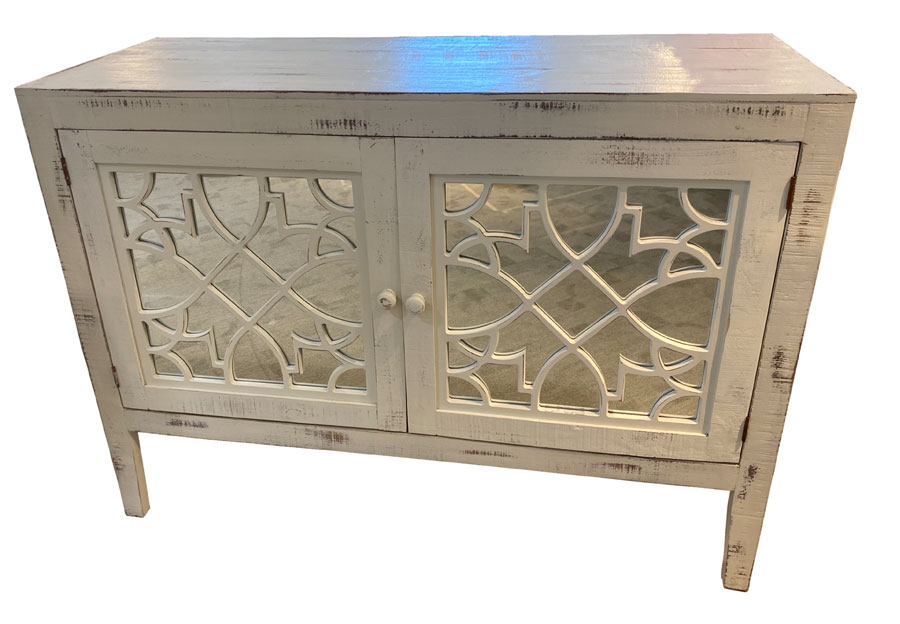 Vintage Furniture 53in Haven 2 Door Buffet With Mirror in Nero White