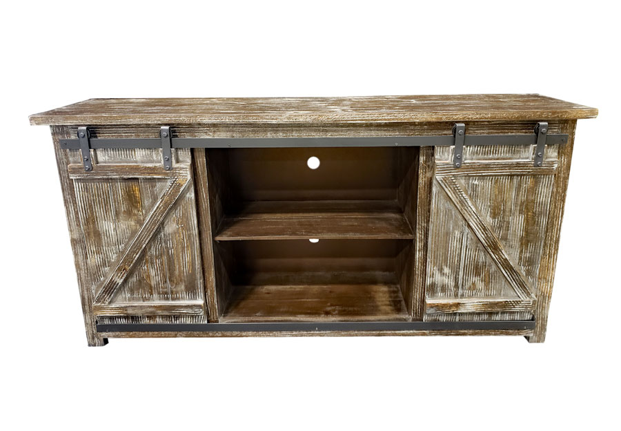 "Vintage Furniture Barnwood 60"" Media Console with Sliding Barn Doors"