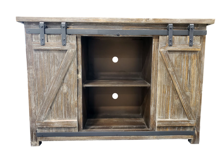 "Vintage Furniture Barnwood 50"" Media Console with Sliding Barn Doors"