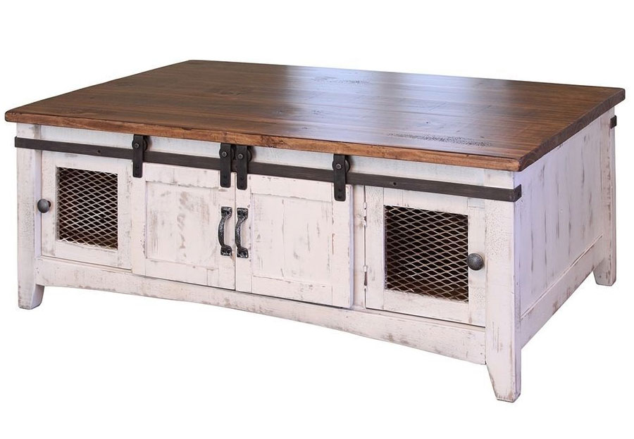 Vintage Furniture Nappa Mesh Cocktail Table With Barn Doors In Nero White With A Granite Top