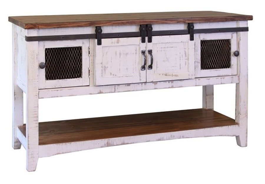 Vintage Furniture Nappa Mesh Sofa Table With Barn Doors In Nero White With A Granite Top