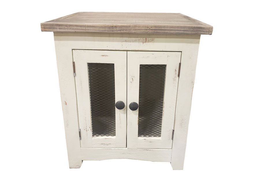 Vintage Furniture Nappa Mesh End Table In Nero White With A Granite Top