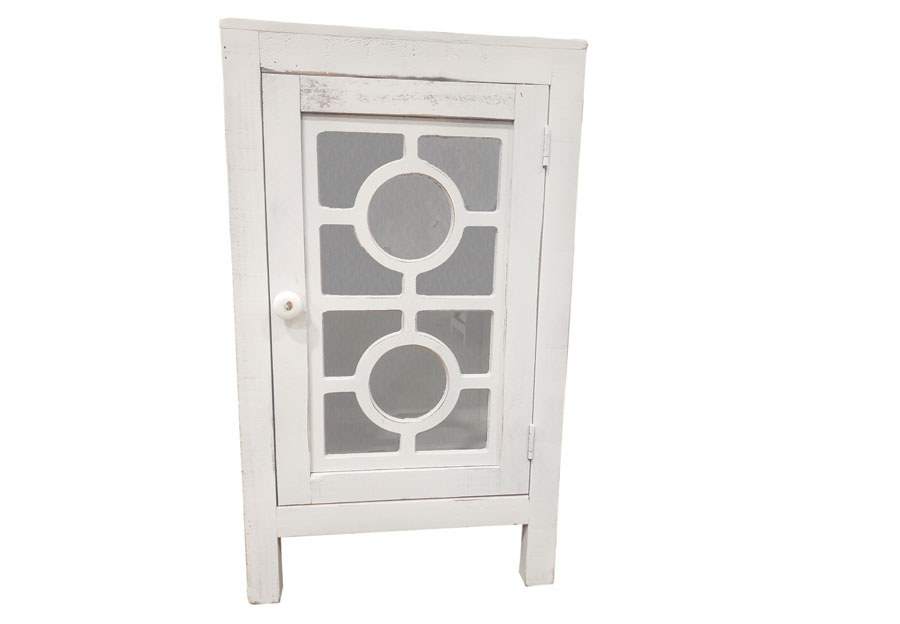 Vintage Furniture White Side Accent Table With Glass Door