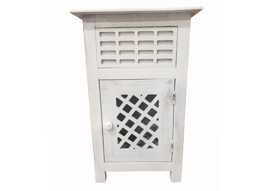 Vintage Furniture White Side One-Drawer One-Door Accent Table