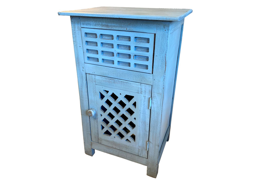 Vintage Furniture Blue Side One-Drawer One-Door Accent Table