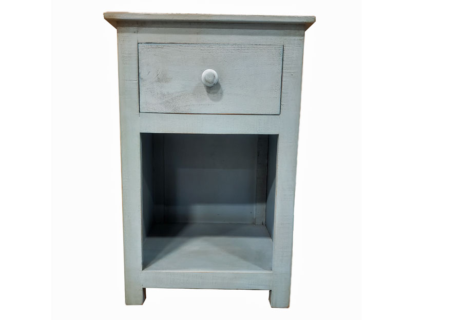 Vintage Furniture Blue Side Accent Table With One Drawer