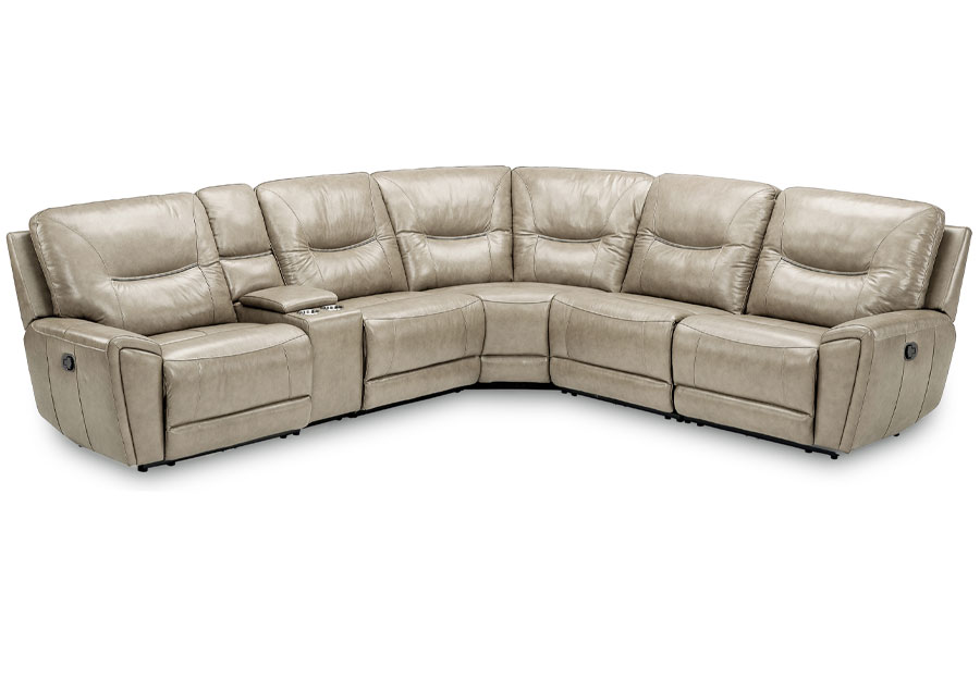 Kuka Largo Drive Sand Three Power Reclining Sectional Leather Match