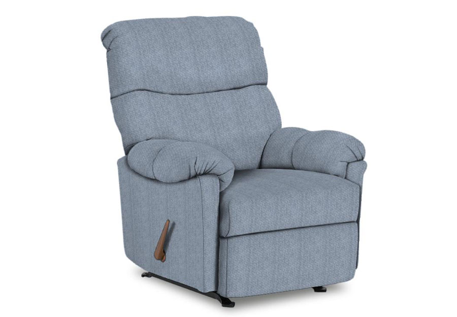 Best Balmore Powder Blue Swivel Rocker Recliner